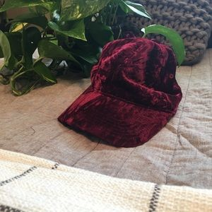 Red Crushed Velvet Hat Baseball Cap